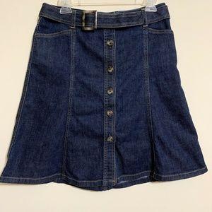 Ann Taylor Stretch Denim Skirt Size 10P Dark Wash